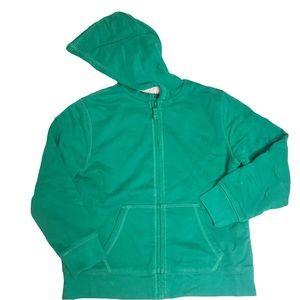 LL Bean faux fur lined green hoodie kid's medium